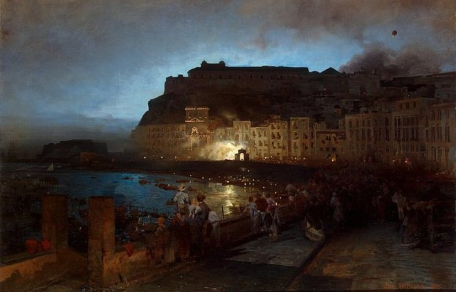 """Fireworks in Naples"", oil painting by Oswald Achenbach, 1875"