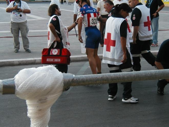 Medics help after a nasty fall.