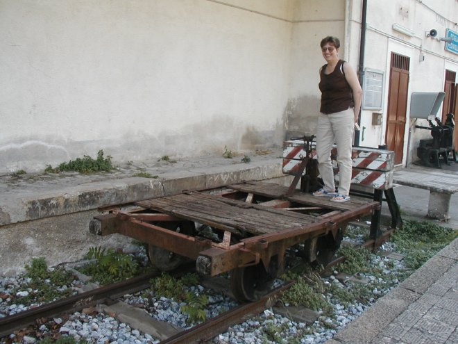 My sister Marlie boards the regional train to Scigliano--JUST KIDDING! We saw this 'retired' rail car in the station at Cosenza.