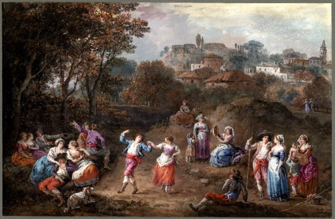 Italian Landscape with a Country Festival by Francesco Zuccarelli (18th c.) Image from Wikimedia Commons