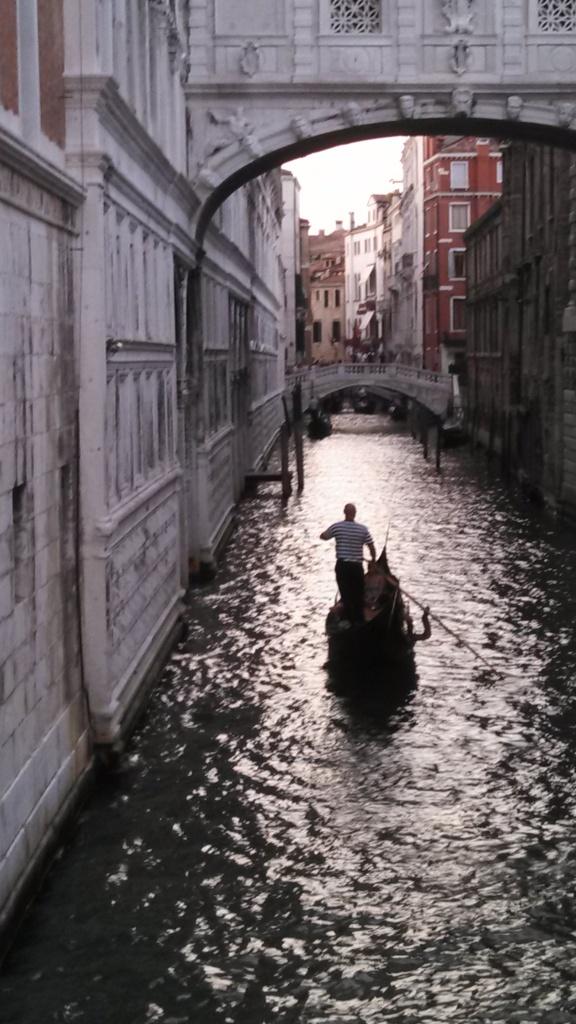 A gondola under the Bridge of Sighs
