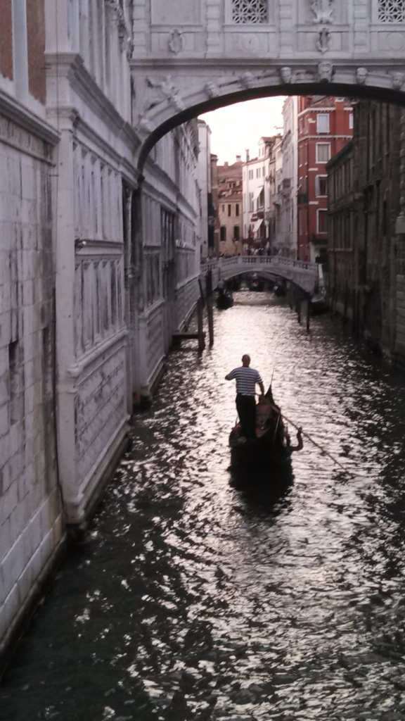 A gondola under the Bridge of Sighs