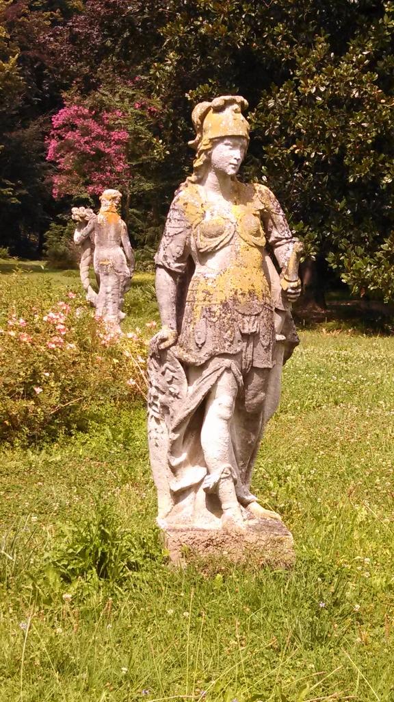 Statues in the pleasure garden at Villa Widmann.