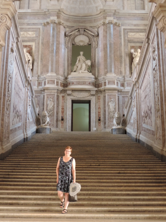 "This spectacular staircase leads to the ""piano nobile"", the floor containing the royal apartments. In the film 'Angels and Demons' this staircase was used for a scene set at the Vatican."