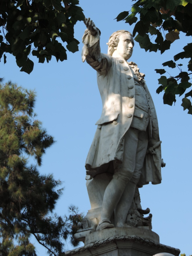 Luigi Vanvitelli's statue stands in a park named for him, in the town of Caserta, a few blocks from the palace he designed.