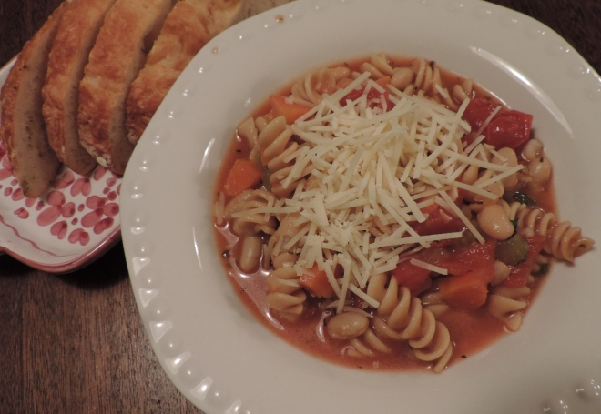 The pasta e fagioli I made while writing this blog post.