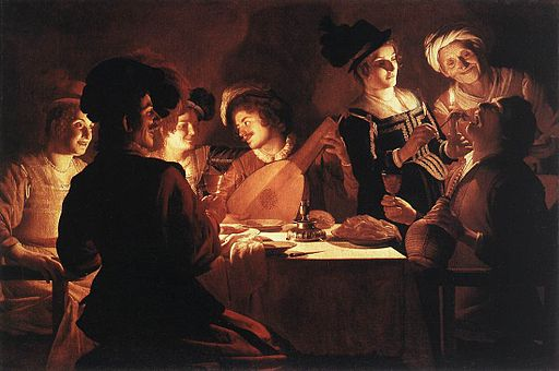 Supper Party by Gerard van Honthorst, ca. 1619. Image from Wikimedia Commons.