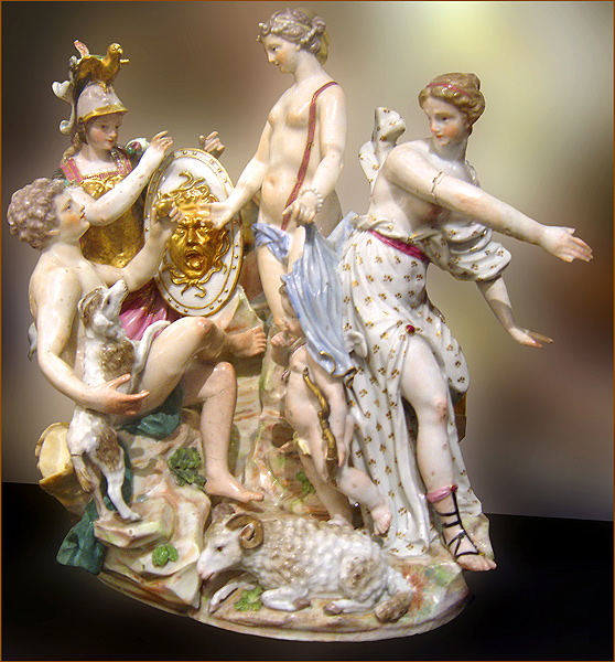 The Judgement of Paris, now in the Capitoline Museum in Rome. Colorful and elaborate figures typically linked with Capodimonte style. Image from Wikimedia Commons.