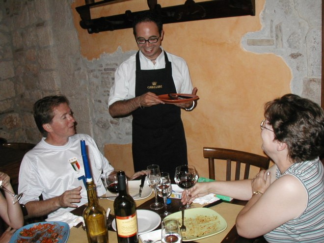 Glenn and I with Piero at the Cantina di Biffi in Sulmona. Note bottle of Montepulciano d'Abruzzo on the table.